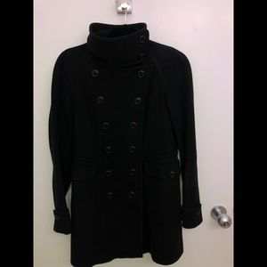 Burberry Wool High Collar Black Coat